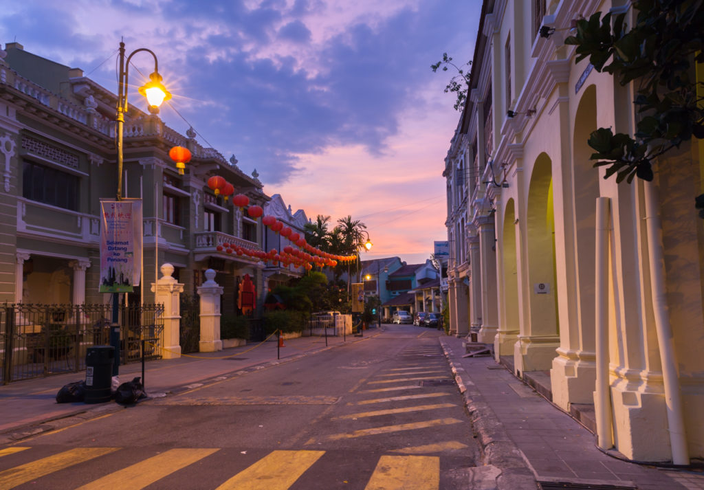 Dusk view of Armenian Street, George Town, Penang, Malaysia