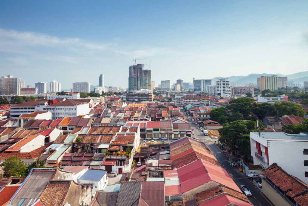 Panoramic view over George Town, Penang, Malaysia