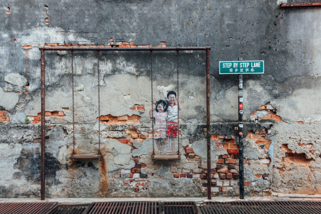 "Mural ""Children on the Swing"" by Louis Gan"