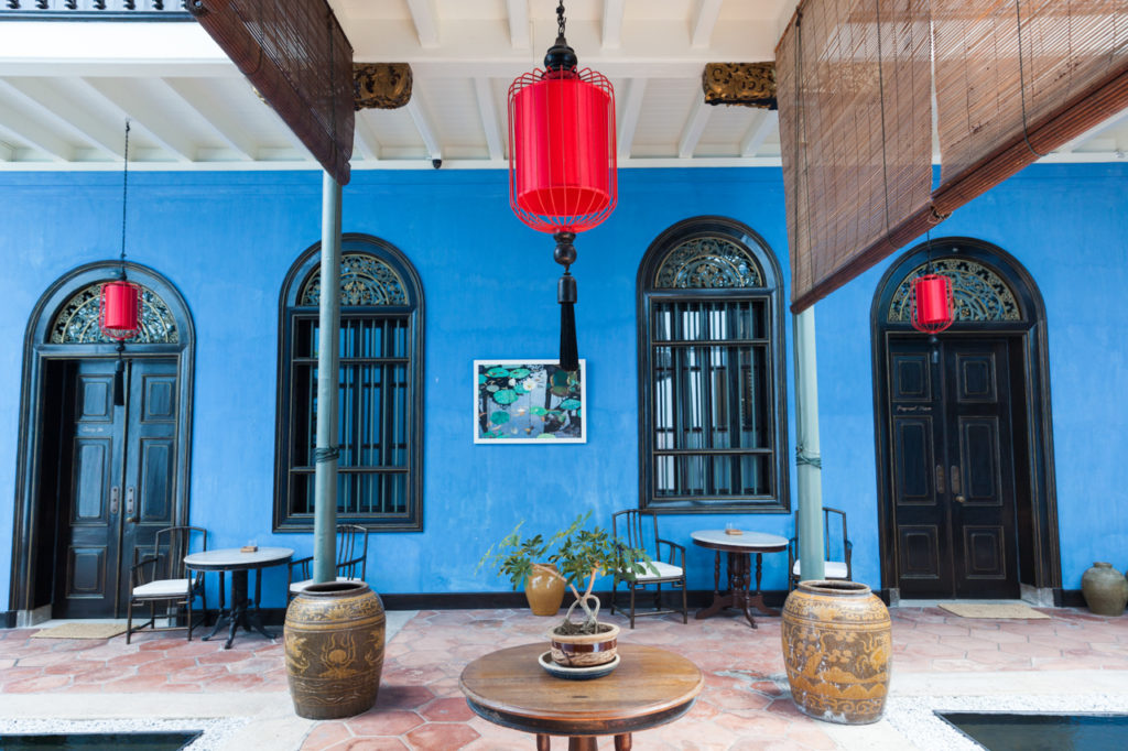 The interior of Fatt Tze Mansion or Blue Mansion