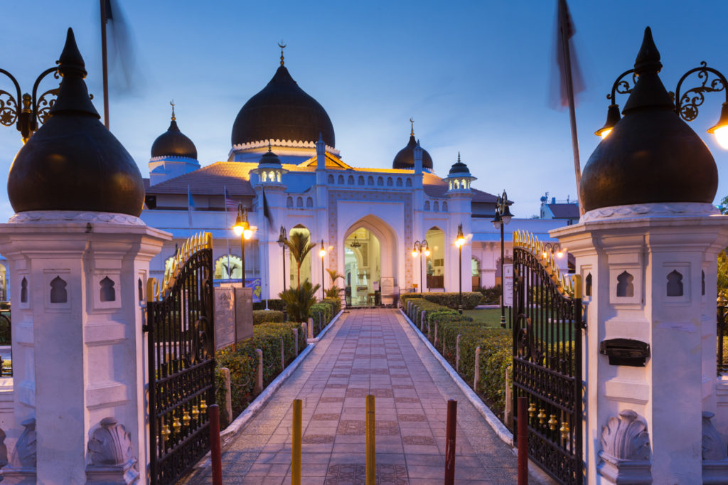 19th century Kapitan Keling Mosque after sunset