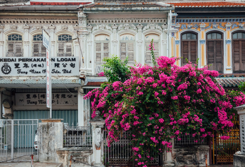 Facade of the old shophouse building in UNESCO Heritage buffer zone