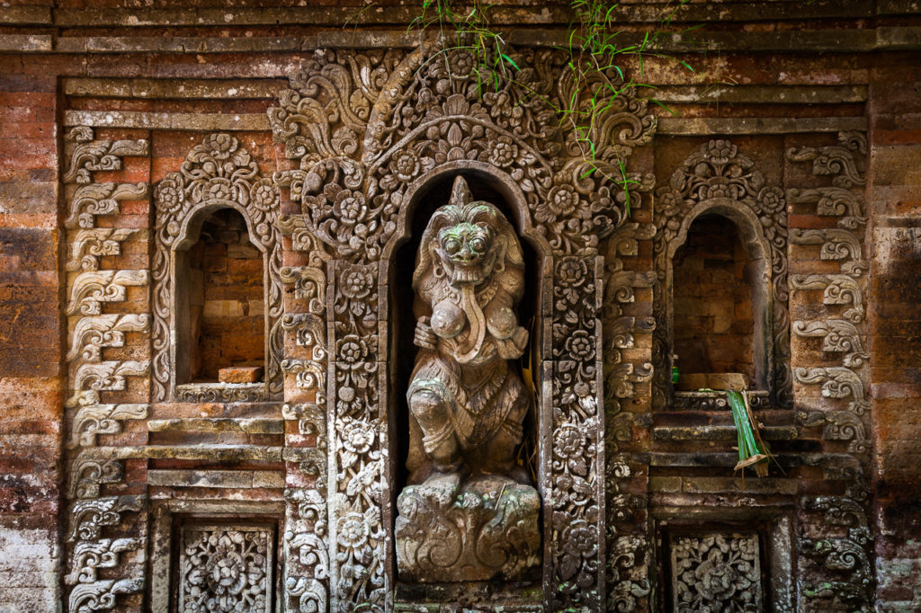 Rangda the demon queen statue in the Ubud Palace, Bali, Indonesia