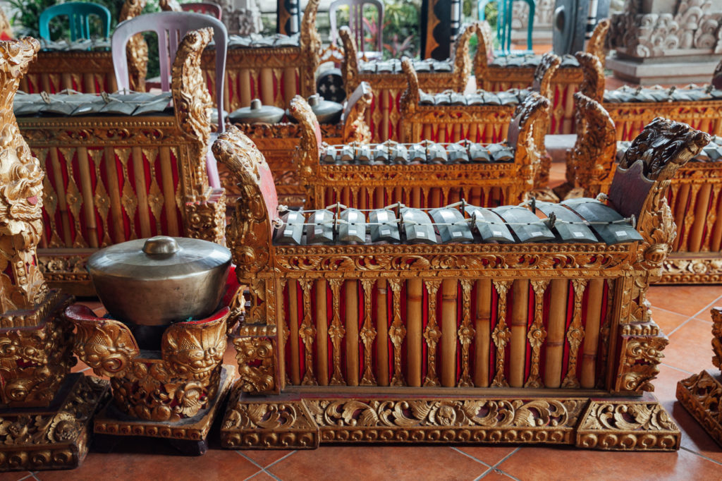 Traditional Balinese percussive music instruments decorated with carvings, Ubud, Bali