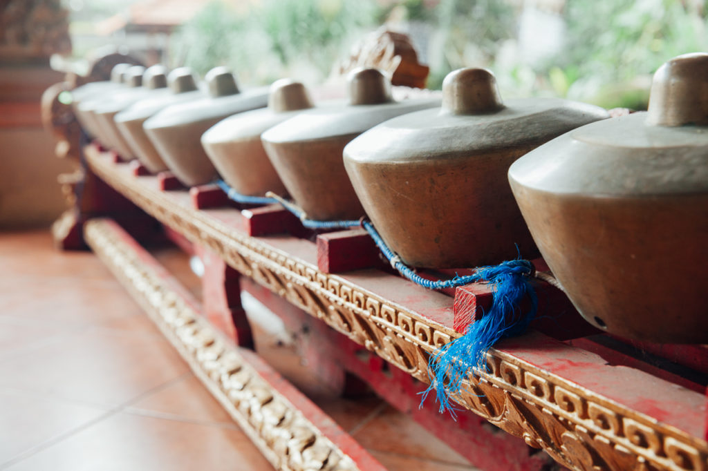 Traditional Balinese percussive music instruments, Ubud, Bali, Indonesia.