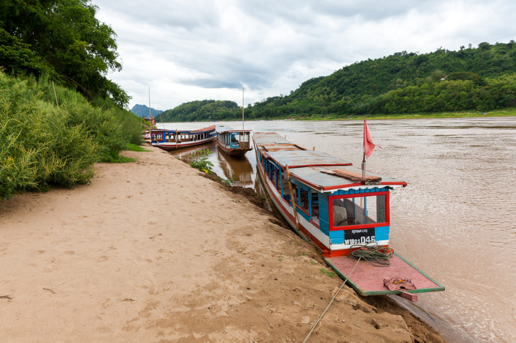 Boats on the bank of the Mekong River, Luang Phrabang, Laos