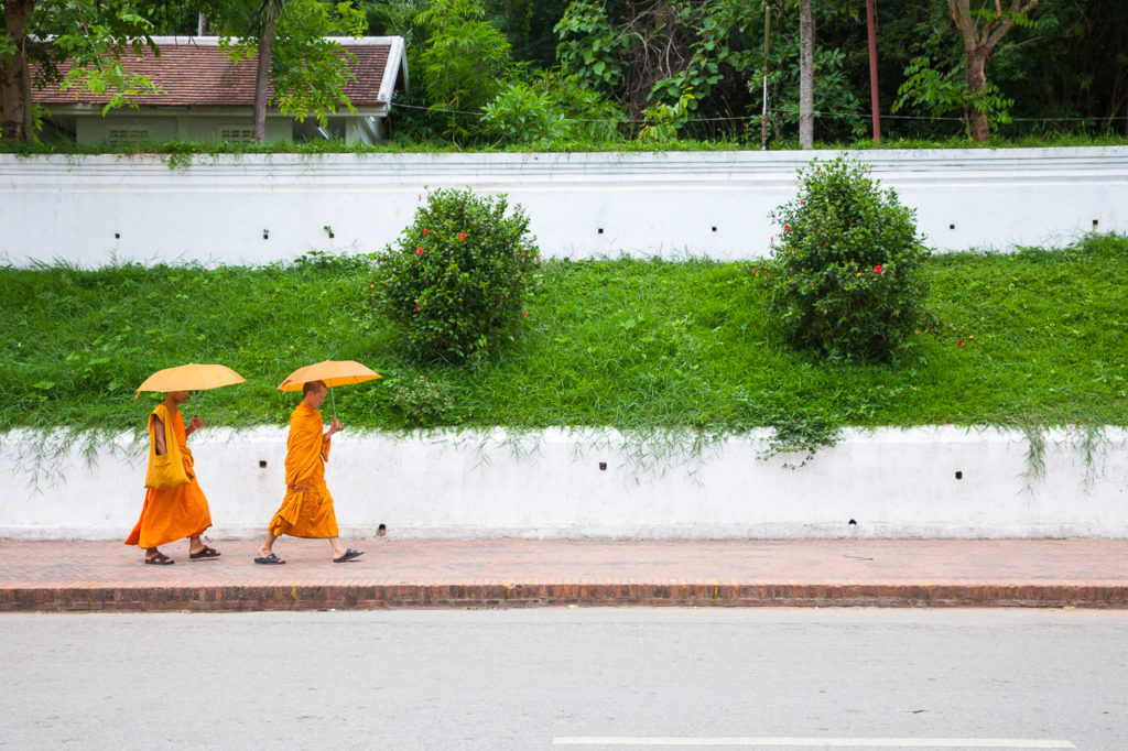 Novice monks at the street of Luang Prabang, Laos