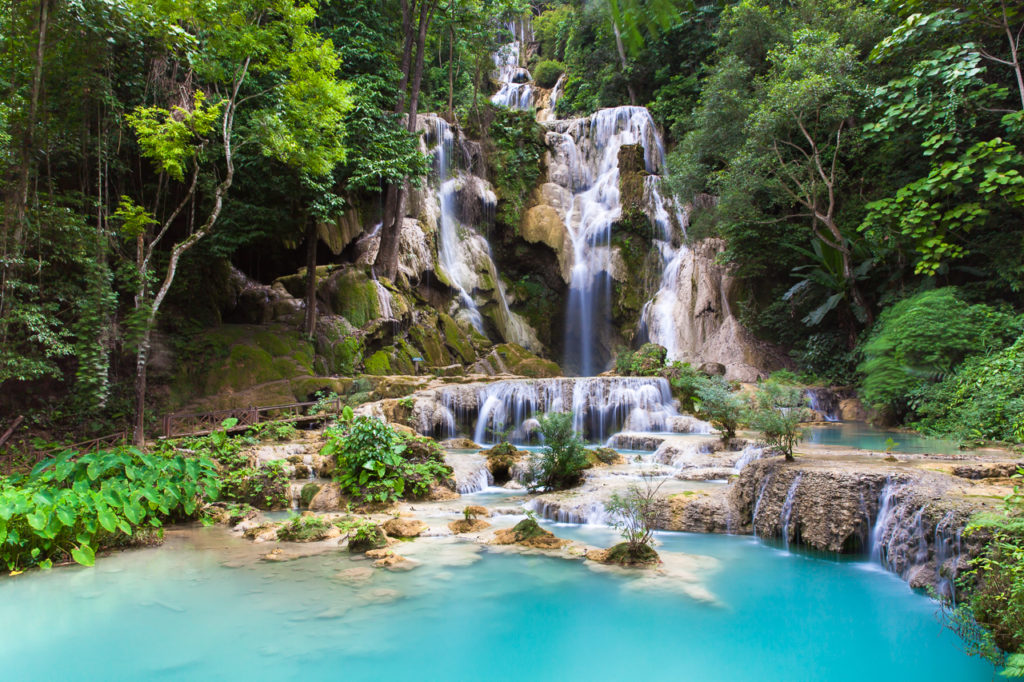 The main waterfall of the cascade, Kuang Si waterfalls, Laos