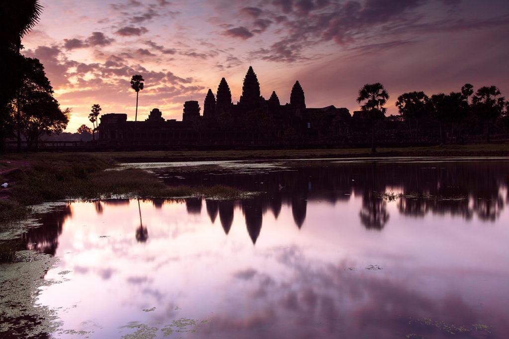 Angkor Wat silhouette at sunrise