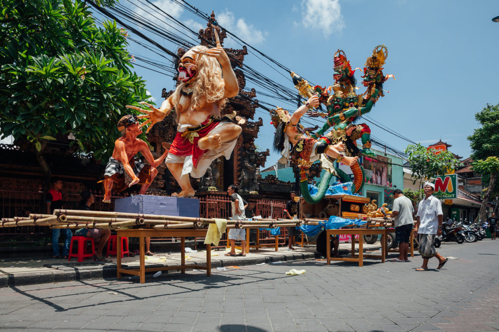 "The ""Ogoh-Ogoh"" statue being prepared for the parade during Balinese New Year celebrations"