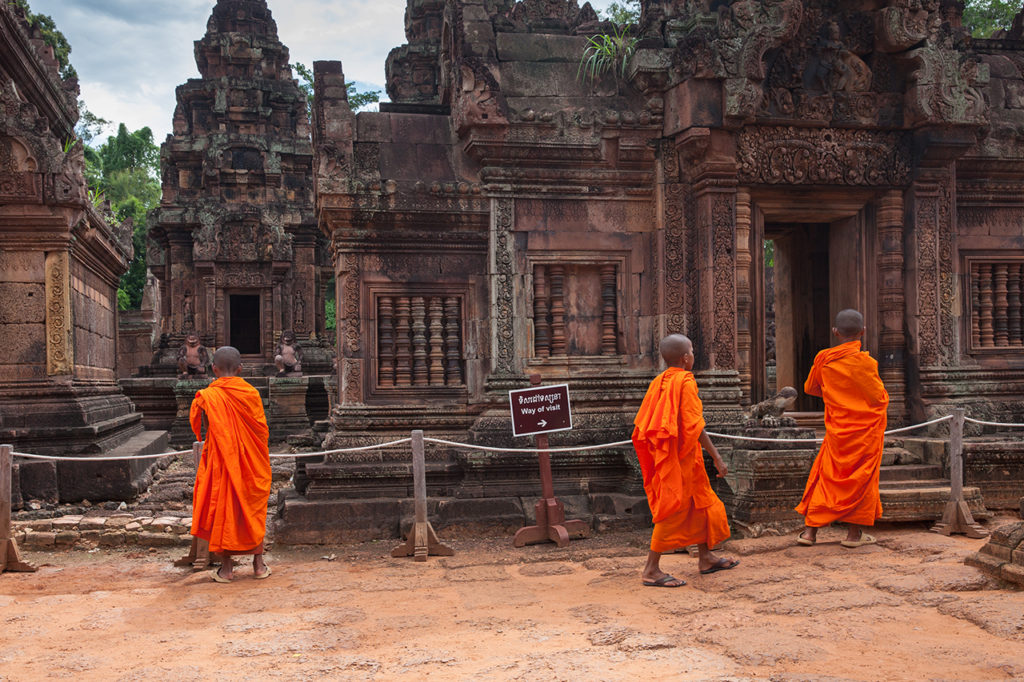Buddhist monks at the Banteay Srei
