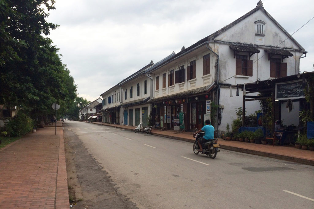 A street in historical center of Luang Prabang, Laos