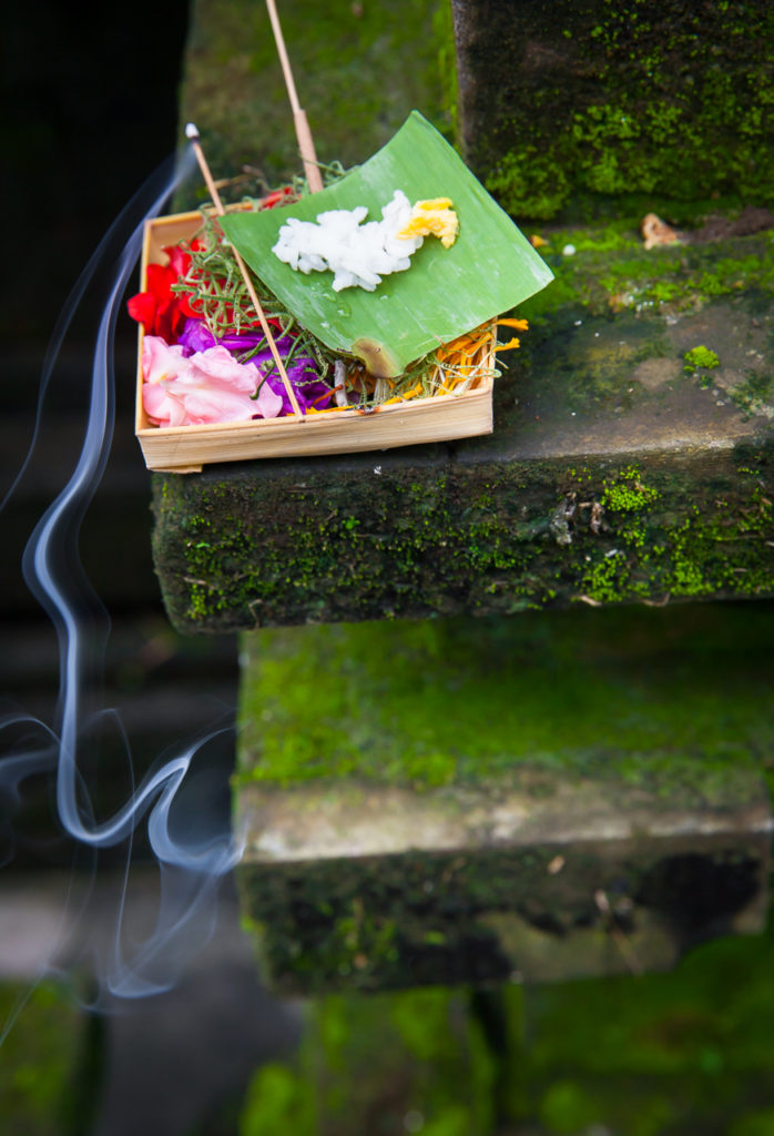 The Box with daily offerings or Canang sari, Ubud, Bali, Indonesia