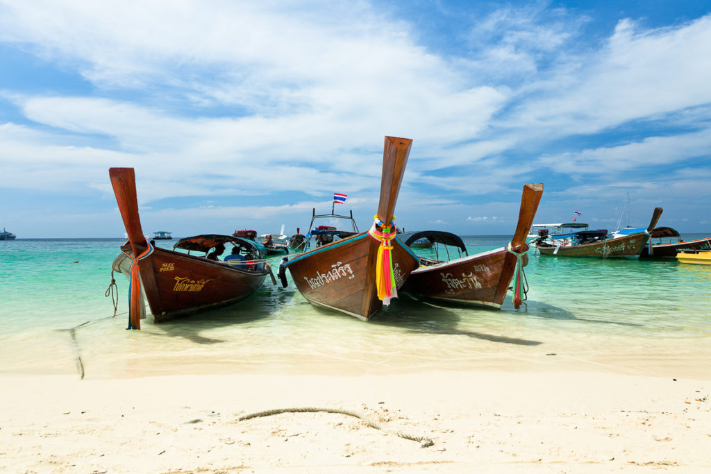 Thai long-tail boats at the beach, Koh Lipe, Thailand