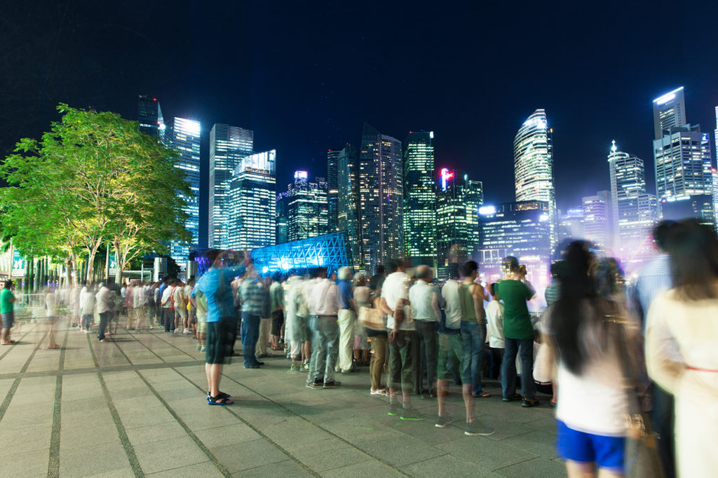 People enjoying the show at the Event Plaza, Singapore
