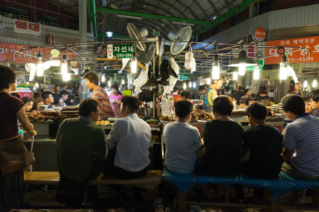Food stalls at Gwangjang Market, Seoul, South Korea