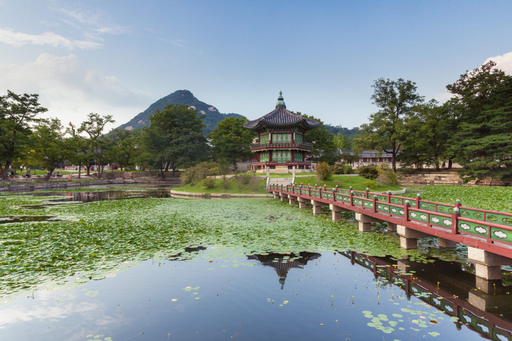 Hyangwonjeong Pavilion of Gyeongbokgung Palace, Seoul, South Korea.