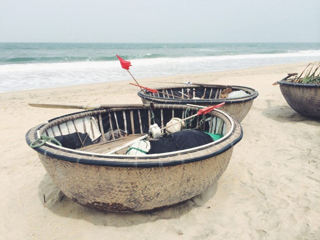 Hoi An, Vietnam: Traditional boats at the beach