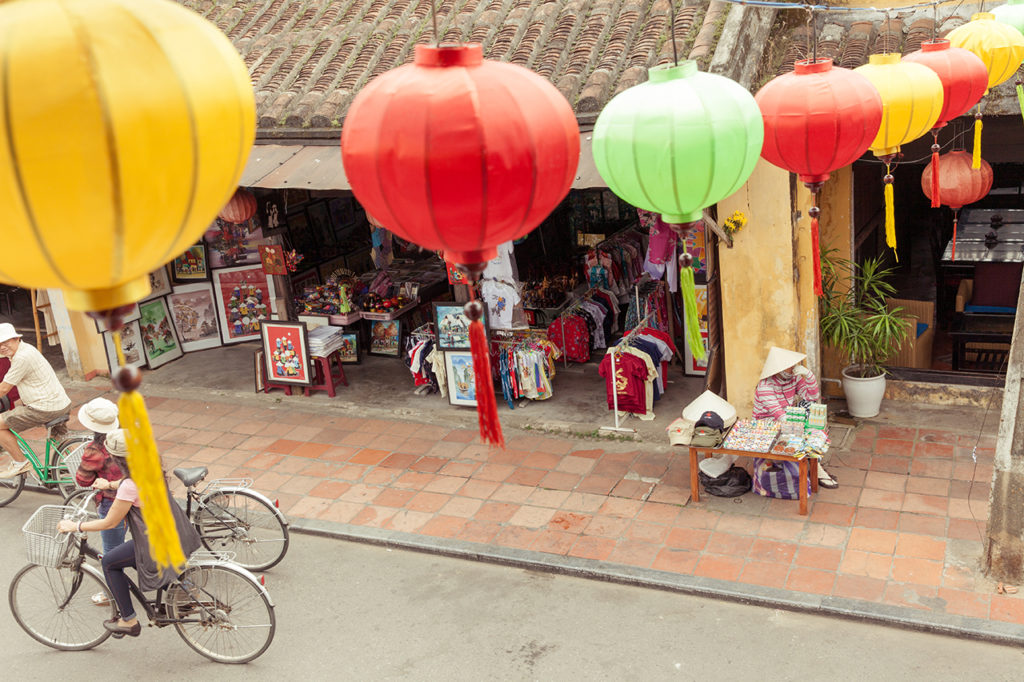 Hoi an, Vietnam: Street decorated with colourful lanterns