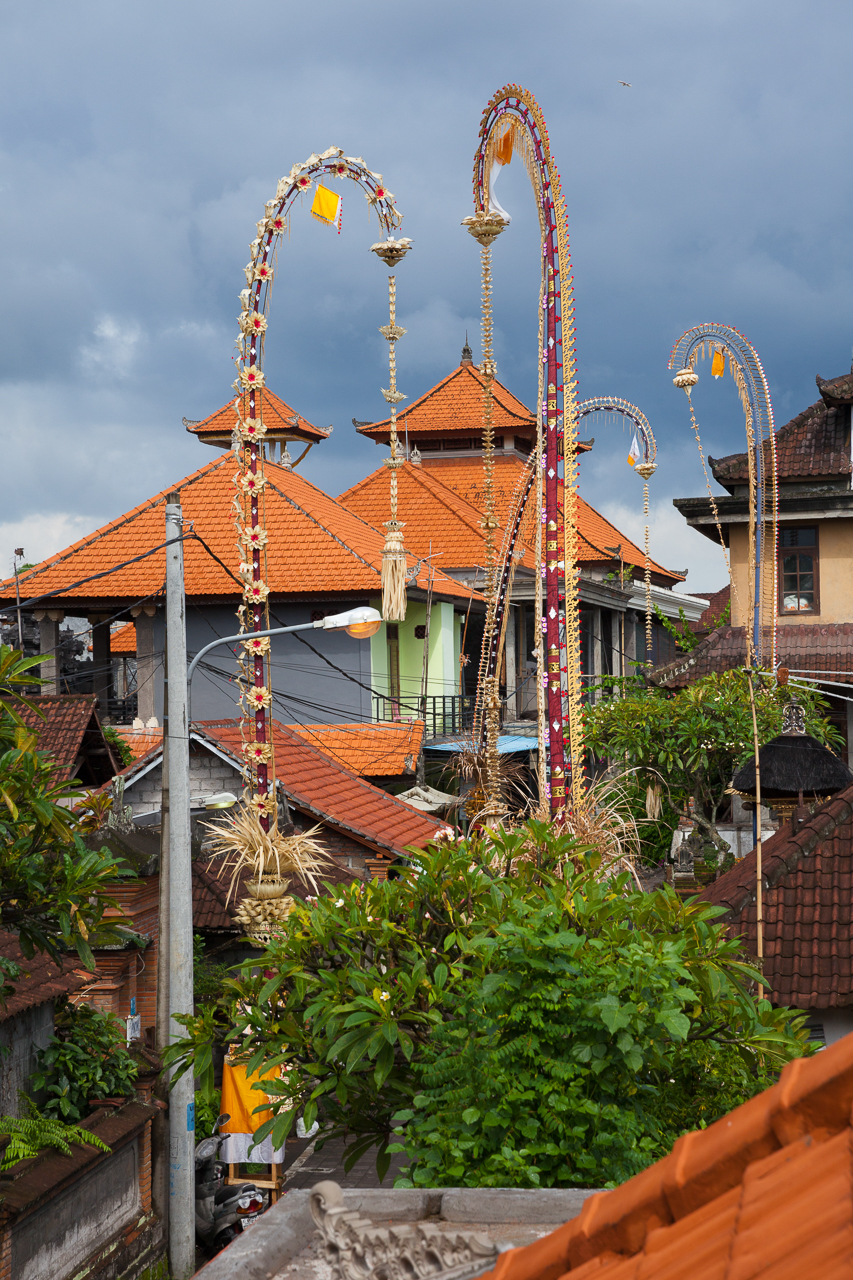 Nyepi Balinese New Year: Ubud streets decorated for Nyepi celebrations